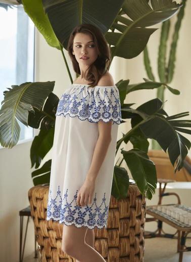 Penye Mood 8544 Elbise Beyaz